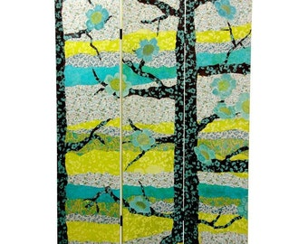 Canvas Room Divider Screen Sylvan Collage Partiton