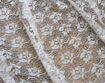 White Vintage Lace Curtain with Rose Flower pattern