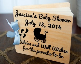 personalized guest book, baby shower, advice book, wood guest book
