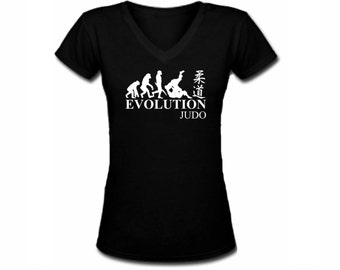 Judo Evolution MMA black v neck customized women top - fit the body