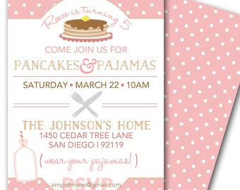 Pancakes and Pajamas Party Invitation - Pancake Birthday Party Invite customized and personalized - digital file