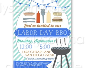 Labor Day BBQ Summer Cookout Invitation - customized and personalized - digital file