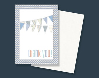 Chevron/Pennant Baby Boy Shower Thank You