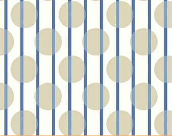 Serena, Sand Polka Dots and Blue Stripes on White 1 yd