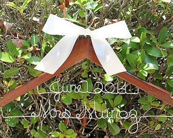 Ships in 3-5 Days! SALE Beautiful 2 Line Personalized Wood Hanger for Bride and Wedding Party With Bow