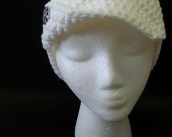 Stylish crocheted cloche hat.