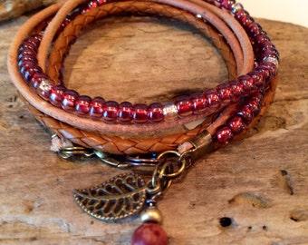 Beaded Bohemian Wrap Bracelet, 2X Wrap Bracelet, Wrap Bracelet, Tan, Gold, Burgundy