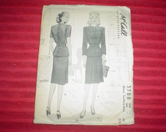 1940's Misses Two Piece Day Or Evening Dress - Vintage Sewing Pattern - Mc Call  5788 -  Size 14