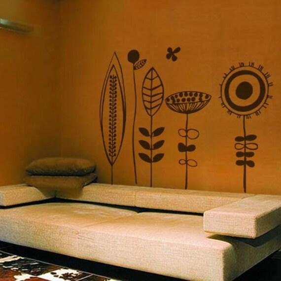 Stilizzato fiori wall decal art home deco vynil di lifecolorscity
