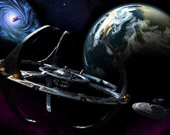 Star Trek Digital Art  Glossy Print  'Arrival At DS9'