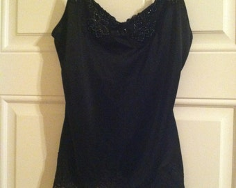 Black Beaded Camisole - Size Small