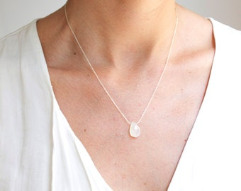Handmade delicate Moonstone necklace. Moonstone with sterling silver chain.