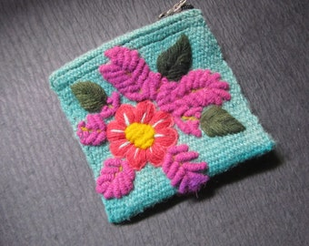 Small Wool Teal Coin Purse-Pink Red Yellow Flower With Green Leaves