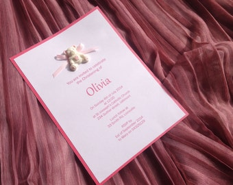 Christening invitarion with teddybear and satin bow - Great for a Baby shower - Baptism and Birthday