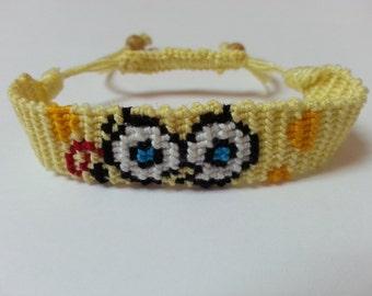 Spongebob face, handmade, knotted, friendship bracelet.
