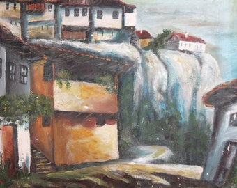 Vintage impressionist landscape cityscape oil painting