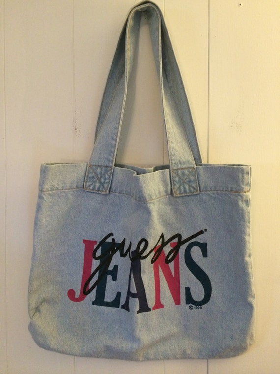90s Guess Jeans Vintage Tote Bag by WhateverVintageShop on Etsy