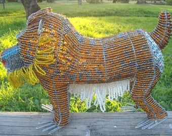 African Wire and Bead Art - Mandrill- Stunningly Crafted Artwork - the Very Best of Modern African Art!!!