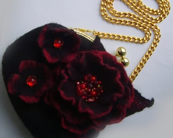 Felted wool bag-Felted wool purse-Wet felted bags-Felt bag-Felted purse-Felt handbag-Wool clutch-clutch bag-wool bag-red black