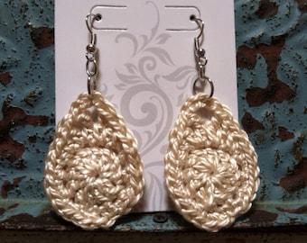 Crocheted Earrings, Hook style >READY TO SHIP<