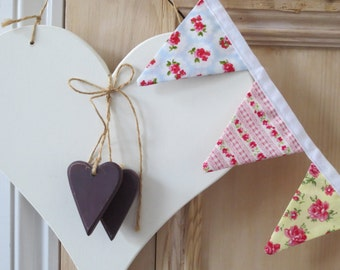 Mini Bunting - Floral, double sided - perfect for weddings, parties or decoration