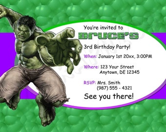 Hulk Birthday Invitation - Printable