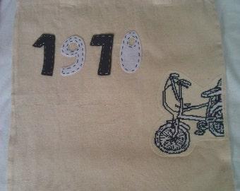 Cross stitched 1970 chopper bike bag - tote - unique - hand sewn - felt