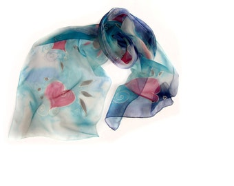 Painted Blue Silk Scarf with Hearts, Blue Christmas Silk Chiffon Scarf, Women Silk Scarf, Silk Chiffon Accessory