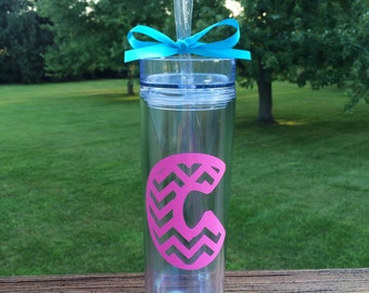 Skinny Tumbler or Water Bottle with Initial in Chevron Pattern -  Your Choice of Colors!