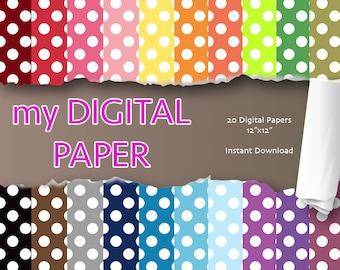 Polka Dot Digital Paper- Polka Dot Printable Paper - Commercial use - polka dots - INSTANT Download, Scrapbooking Digital Paper