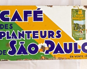 "Antique French Advertising Sign ""Cafe des Planteurs De Sao Paulo"""