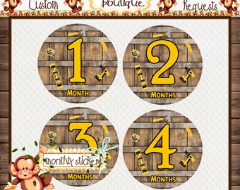 Tools Monthly Baby Milestone Stickers Baby Shower Gift Bodysuit Baby Stickers Monthly Baby Stickers Baby Month Sticker {M205}