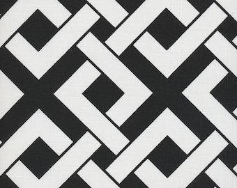 Boxed In Black & White Indoor Outdoor contemporary Fabric