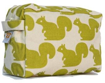 Green Squirrel Cosmetic Bag