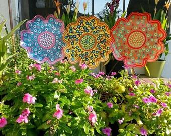 Charming Metal Flower Garden Stake   Large, Garden Decor, Gift For Her, Yard Art