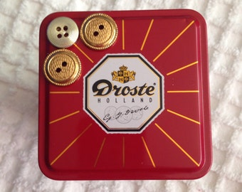 Vintage Metal Tin with Button Detail
