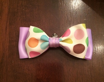 Little boys purple and polka dot clip on bow tie