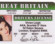 Vivien Leigh Scarlett O'hara Gone with the Wind Celebrity Drivers License fake identification ID Card Halloween Costume margaret Mitchell