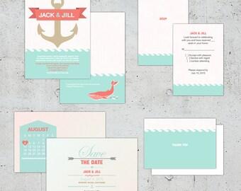 Nautical Wedding Set | Printable DIY | Color Customizable