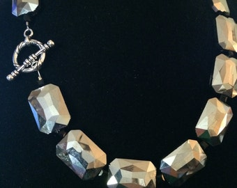 Silver Mirror Beaded Necklace