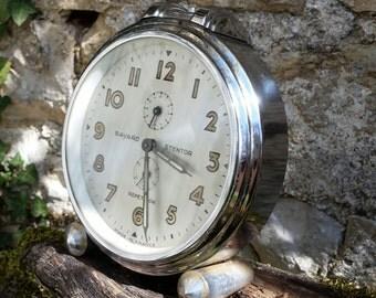 Antique French Art-Deco Parisian Chrome Modernist Bayard Stentor Repetition Alarm Clock