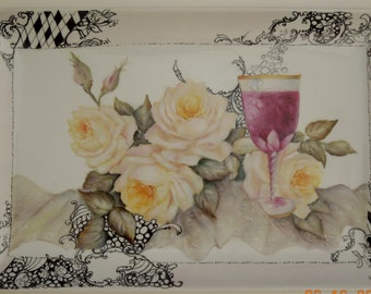 Platter-Hand painted Serving Platter with Roses and Wine Glass on Lace Table Cloth with Border of Zentangles Doodles