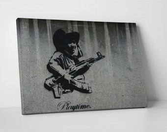 Playtime by Banksy Gallery Wrapped Canvas Print. BONUS! BANKSY DECAL!