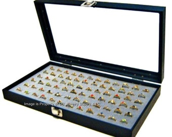 Key Lock Locking Glass Top 72 Ring Grey Jewelry Sales, Display Box Storage Case