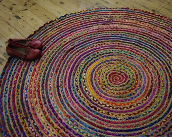 Hand Made ROUND Rainbow colour Braided COTTON & JUTE Rag Rug Recycled Boho Hippy Shabby Chic Traditional Upcycled 120cm Across
