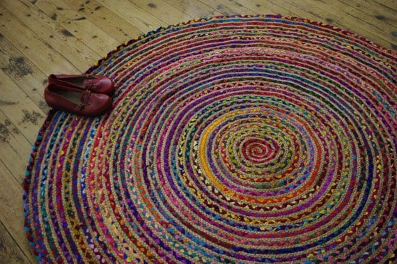 Hand Made ROUND Rainbow Colour Braided COTTON U0026 JUTE Rag Rug Recycled  Boho Hippy Shabby Chic