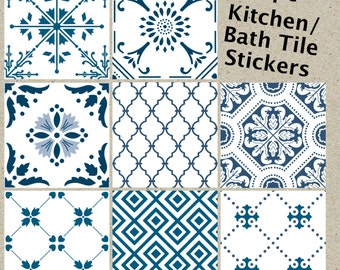 Wall tile vinyl decal sticker for kitchen bath stair riser - Stickers carrelage mural cuisine ...