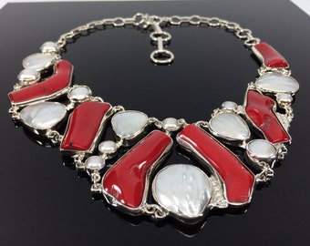 Red Bamboo Coral and Pearl Necklace // 925 Sterling Silver // Toggle Clasp // 16-18 Inches Length