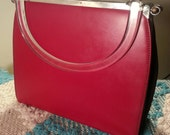 1950s Lowry and Mund 3-in-1 /  Day-to-Night Vintage Hard Shell Reversible Color Panel Handbag With Lucite Handle Chic