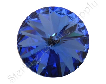 SAPPHIRE 18mm Swarovski Rivoli, Wholesale Swarovski Elements Item 1122, USA Seller, Fast Shipping (Riv-18-Sap)